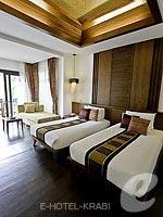 クラビ ライレイのホテル : ライレイ ビレッジ リゾート(Railay Village Resort & Spa)のデラックス プールビュールームの設備 Bedroom